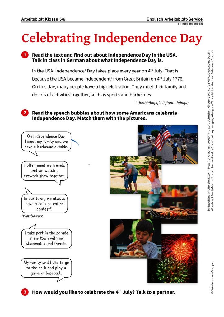 Celebrating Independence Day - Arbeitsblatt über den US ...