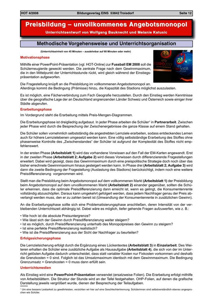 Preisbildung - unvollkommenes Angebotsmonopol - Unterrichtsentwurf ...