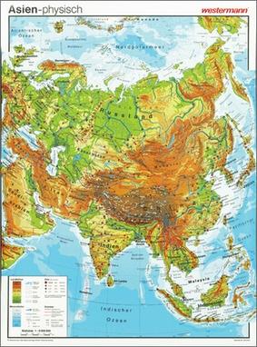 Politische Karte Asien.Asien Vorderseite Physisch Rückseite Politisch